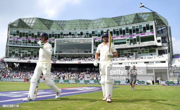 Keaton Jennings and Alastair Cook of England head to bat during the 2nd NatWest Test match between England and Pakistan at Headingley on June 1 2018...