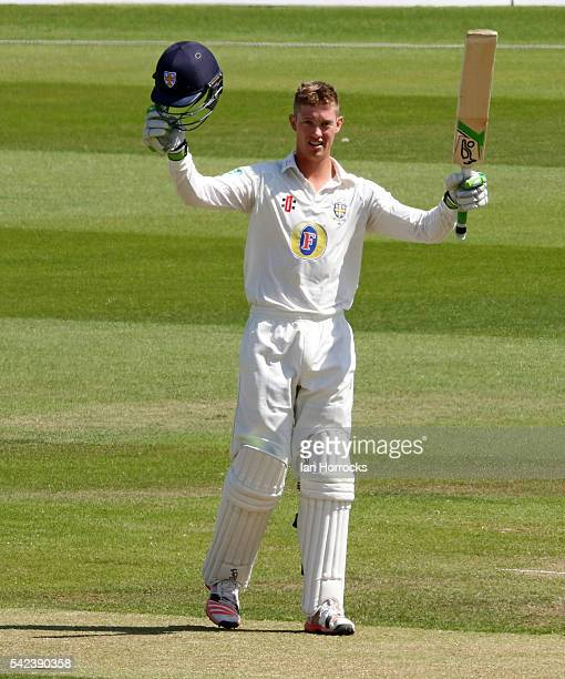Keaton Jennings of Durham celebrates reaching 200 during day four of the Specsavers County Championship Division One match between Durham and...