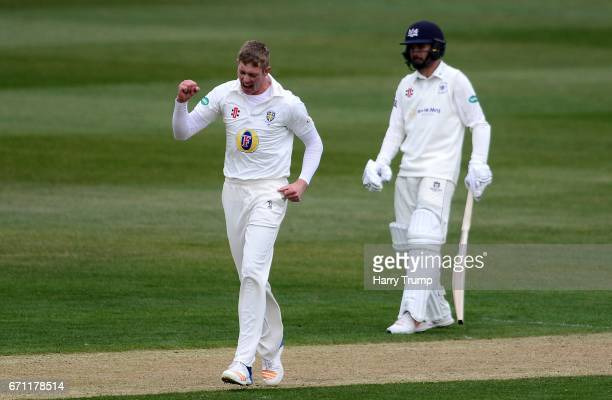 Keaton Jennings of Durham celebrates the wicket of Phil Mustard of Gloucestershire during Day One of the Specsavers County Championship Division Two...