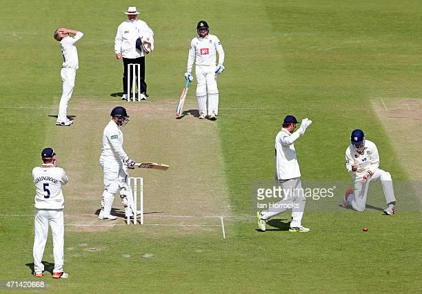 Keaton Jennings of Durham drops a catch off Matt Machan as bowler Scott Borthwick despairs during day 3 of the LV County Championship match between...