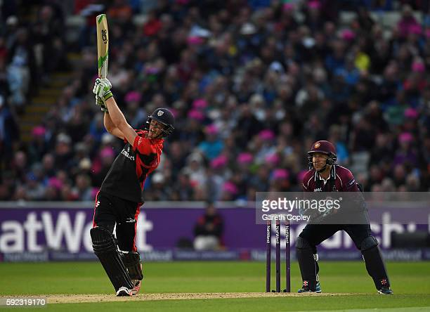 Keaton Jennings of Durham hits out for six runs during the NatWest t20 Blast Final between Northamptonshire and Durham at Edgbaston on August 20 2016...