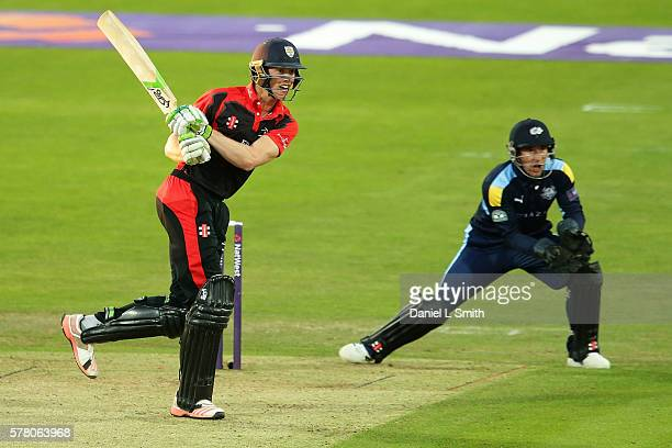 Keaton Jennings of Durham Jets bats during the NatWest T20 Blast match between Yorkshire Vikings and Durham Jets at Headingley on July 20 2016 in...