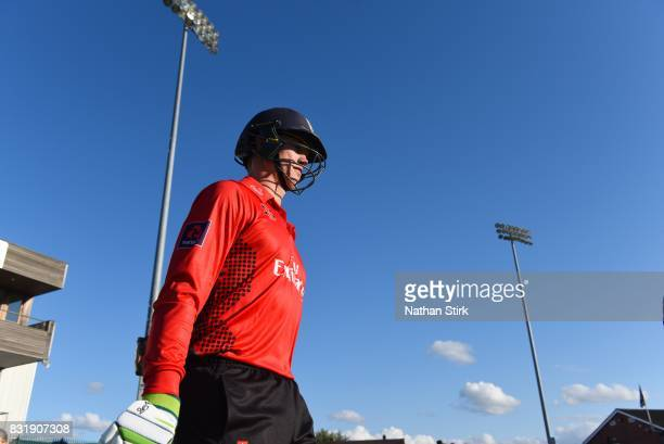 Keaton Jennings of Durham Jets walks out to bat during the NatWest T20 Blast match between Derbyshire Falcons and Durham Jets at The 3aaa County...