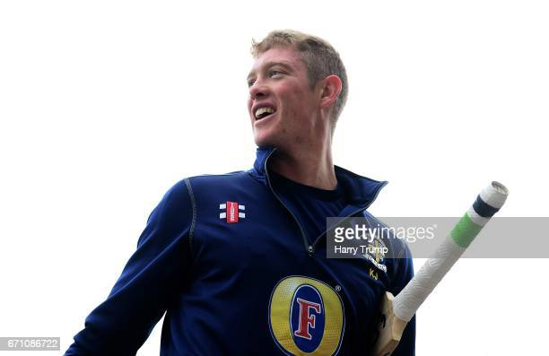 Keaton Jennings of Durham walks in after the warm up during Day One of the Specsavers County Championship Division Two match between Gloucestershire...