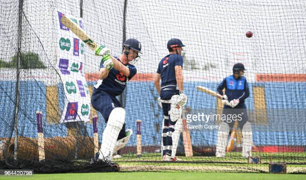 Keaton Jennings of England bats during a nets session at Headingley on May 31 2018 in Leeds England