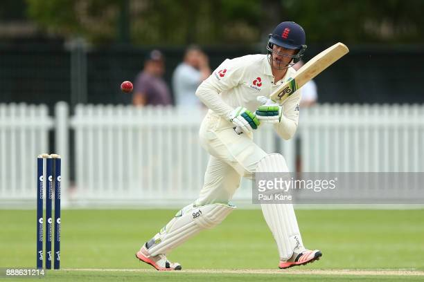 Keaton Jennings of England bats during the Two Day tour match between the Cricket Australia CA XI and England at Richardson Park on December 9 2017...