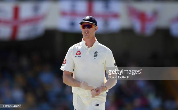 Keaton Jennings of England during Day Three of the First Test match between England and West Indies at Kensington Oval on January 25 2019 in...