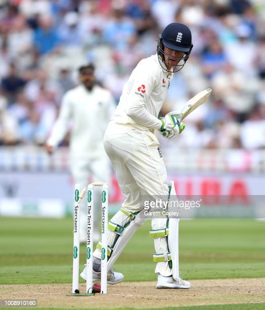 Keaton Jennings of England is bowled by Mohammed Shami of India during the Specsavers 1st Test between England and India at Edgbaston on August 1...