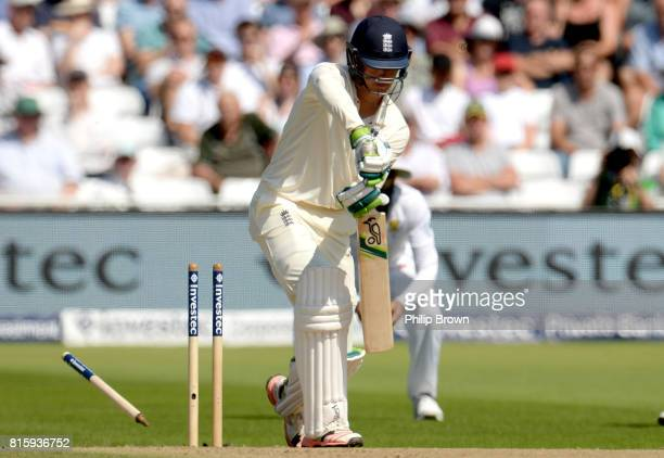Keaton Jennings of England is bowled by Vernon Philander of South Africa during the fourth day of the 2nd Investec Test match between England and...