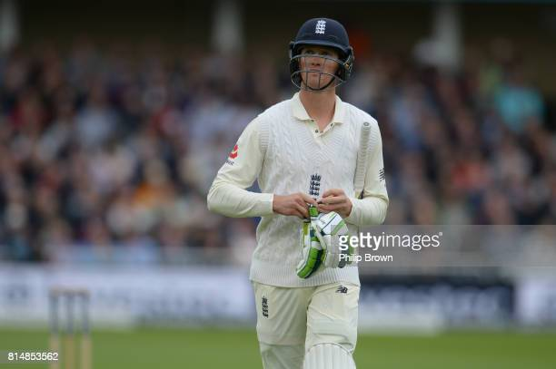 Keaton Jennings of England leaves the field after being caught by Quinton de Kock of South Africa during the second day of the 2nd Investec Test...