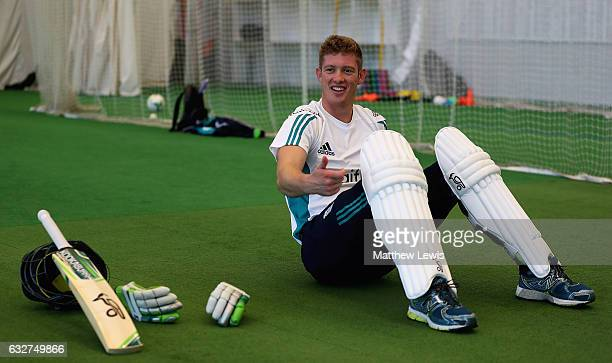 Keaton Jennings of England looks on during a nets session at Loughborough University on January 25 2017 in Loughborough England