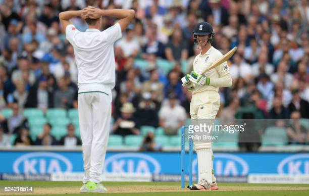 Keaton Jennings of England reacts after being beaten by a Morne Morkel delivery during the third day of the 3rd Investec Test match between England...