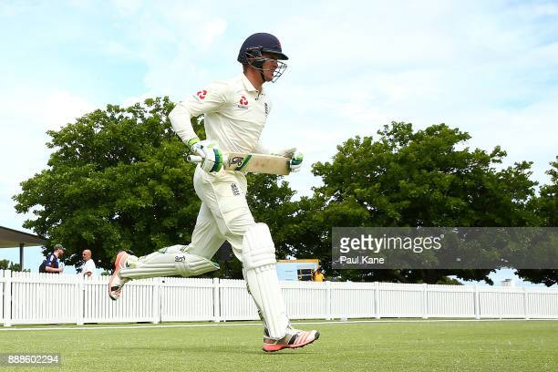 Keaton Jennings of England runs out to open the batting during the Two Day tour match between the Cricket Australia CA XI and England at Richardson...