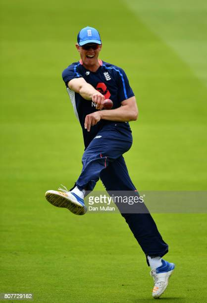 Keaton Jennings of England throws during an England Net Session at Lord's Cricket Ground on July 4 2017 in London England