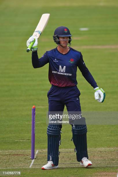 Keaton Jennings of Lancashire acknowledges the crowd after reaching his half century during the Royal London One Day Cup Quarter Final match between...