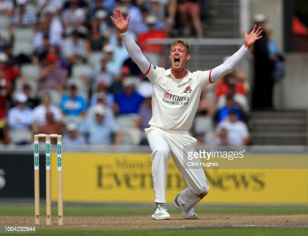 Keaton Jennings of Lancashire appeals in vain to the umpire for LBW during day two of the Specsavers County Championship division one match between...