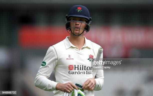 Keaton Jennings of Lancashire leaves the field after being dismissed by Harry Gurney of Nottinghamshire during the four day of Specsavers County...