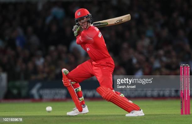 Keaton Jennings of Lancashire Lightning hits a boundary during the Vitality Blast QuarterFinal match between Kent Spitfires and Lancashire Lightning...