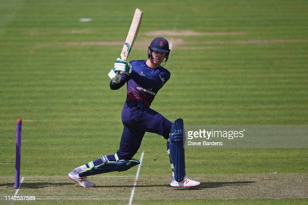 Keaton Jennings of Lancashire plays a shot during the Royal London One Day Cup Quarter Final match between Middlesex and Lancashire at Lords Cricket...