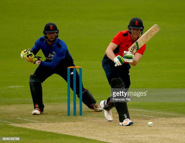 Keaton Jennings of The North bats during Game Three of the ECB North versus South Series at Zayed Stadium on March 21 2017 in Abu Dhabi United Arab...