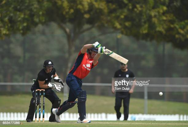 Keaton Jennings of The North bats during their warm up session prior to the ECB North versus South Series on March 15 2017 in Dubai United Arab...