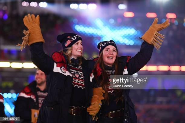 Keaton McCargo and Jaelin Kauf of the United States Women's Moguls team during the Opening Ceremony of the PyeongChang 2018 Winter Olympic Games at...