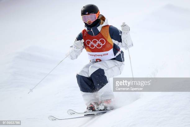 Keaton Mccargo of the United States competes during the Ladies' Freestyle Skiing Moguls qualification ahead of the PyeongChang 2018 Winter Olympic...