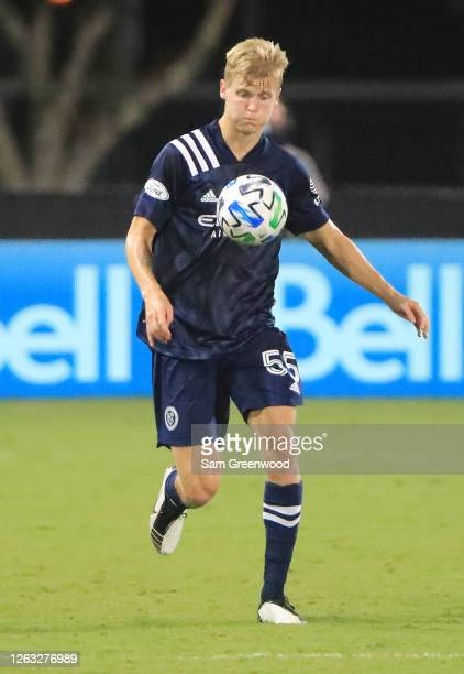 Keaton Parks of New York City controls the ball during a quarter final match of MLS Is Back Tournament between New York City and Portland Timbers at...