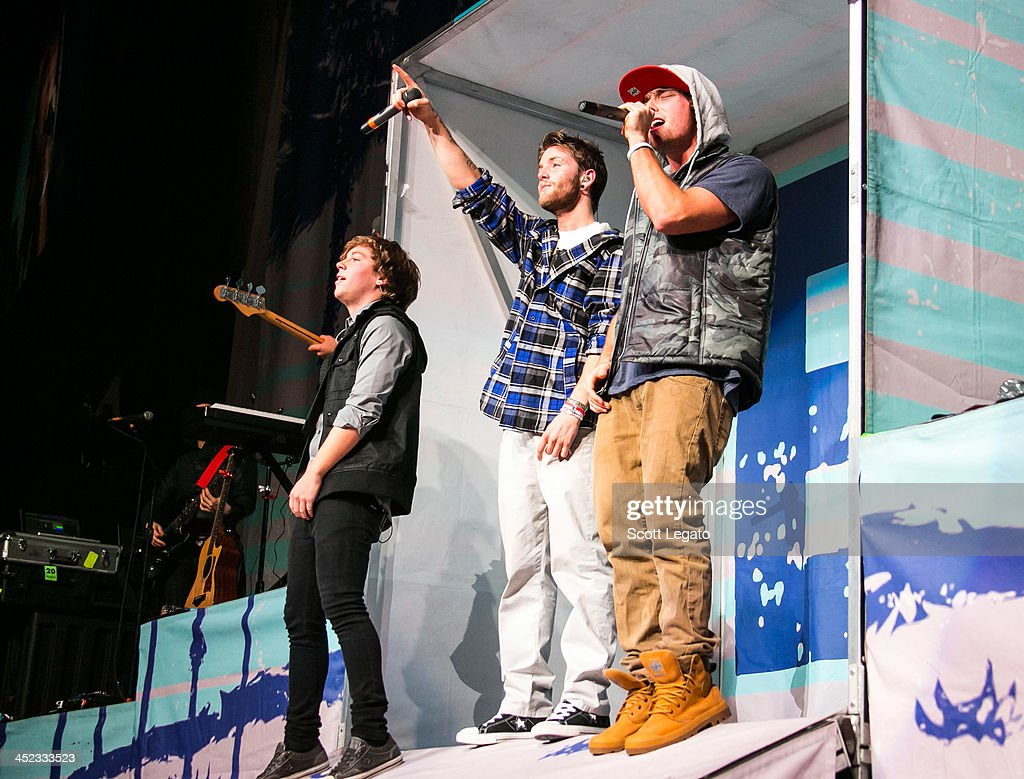 Keaton Stromberg, Drew Chadwick and Wesley Stromberg of Emblem3 perform in concert during her Stars Dance Tour at The Palace of Auburn Hills on November 26, 2013 in Auburn Hills, Michigan.