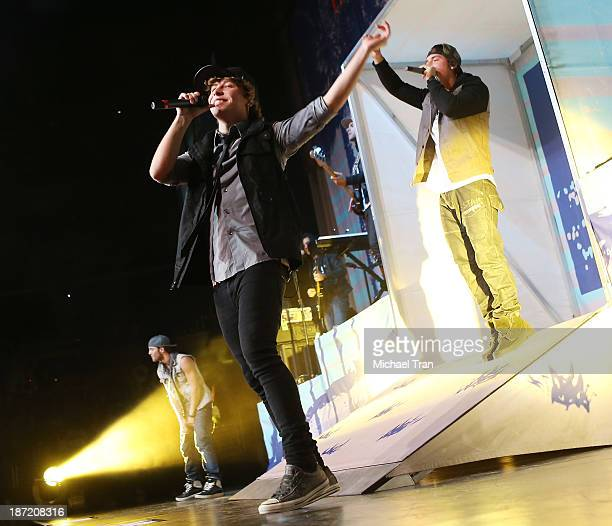 Keaton Stromberg Drew Chadwick and Wesley Stromberg of Emblem3 perform onstage during the 'Stars Dance' tour held at Staples Center on November 6...
