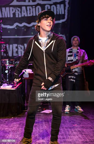 Keaton Stromberg of Emblem3 performs at the 2013AMP 987 Kringle Jingle at The Fillmore on December 15 2013 in Detroit Michigan