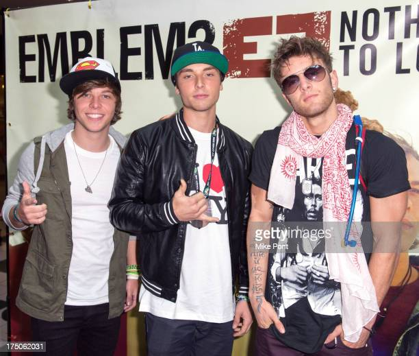 Keaton Stromberg Wesley Stromberg and Drew Chadwick of Emblem3 attend the Emblem3 'Nothing To Lose' album signing at Westfield Sunrise Shopping Mall...