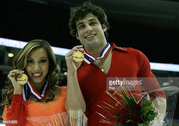 Keauna McLaughlin and Rockne Brubaker pose with their gold medals after the pairs free skate during the ATT US Figure Skating Championships on...
