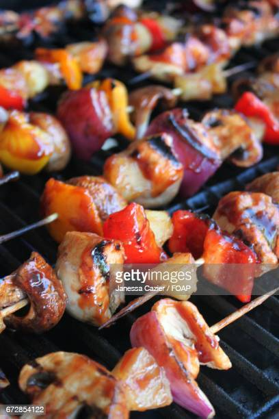 a kebab on the grill - janessa stock pictures, royalty-free photos & images