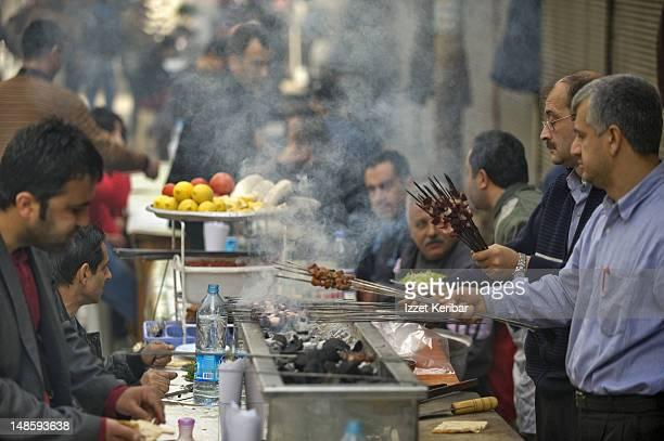 Kebab stalls.