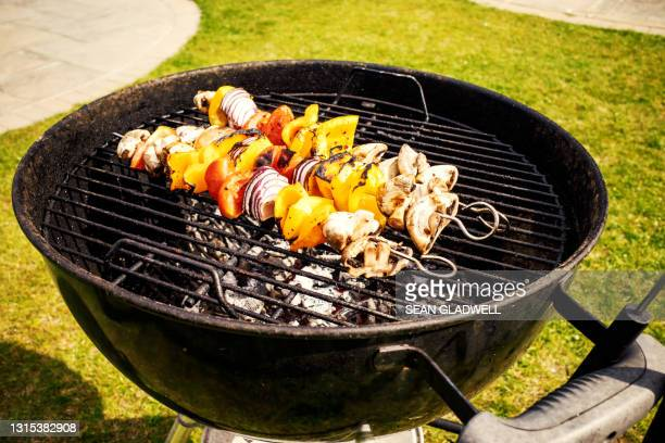 kebabs on bbq - vegetable kebab stock pictures, royalty-free photos & images