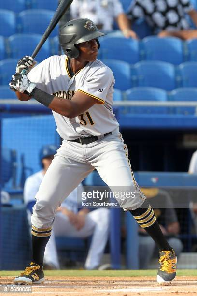 Ke'Bryan Hayes of the Marauders at bat during the Florida State League game between the Bradenton Marauders and the Dunedin Blue Jays on July 15 at...