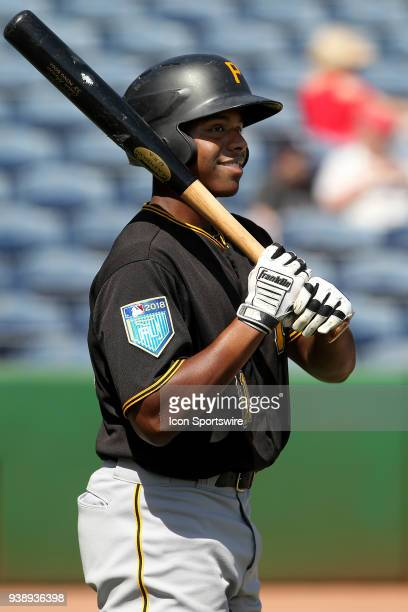 Ke'Bryan Hayes of the Pirates waits his turn for the batting cage before the spring training game between the Pittsburgh Pirates and the Philadelphia...