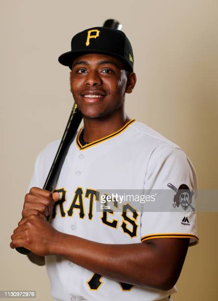 Ke'Bryan Hayes of the Pittsburgh Pirates poses for a portrait during the Pittsburgh Pirates Photo Day on February 20, 2019 at Pirate City in...
