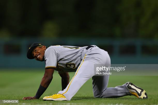 Ke'Bryan Hayes of the Pittsburgh Pirates warms up before a game against the Philadelphia Phillies at Citizens Bank Park on September 24, 2021 in...