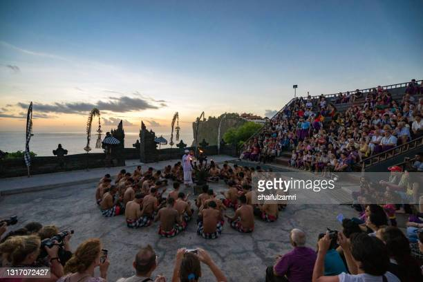 kecak, known in indonesian as tari kecak, is a form of balinese hindu dance from bali - shaifulzamri stock pictures, royalty-free photos & images