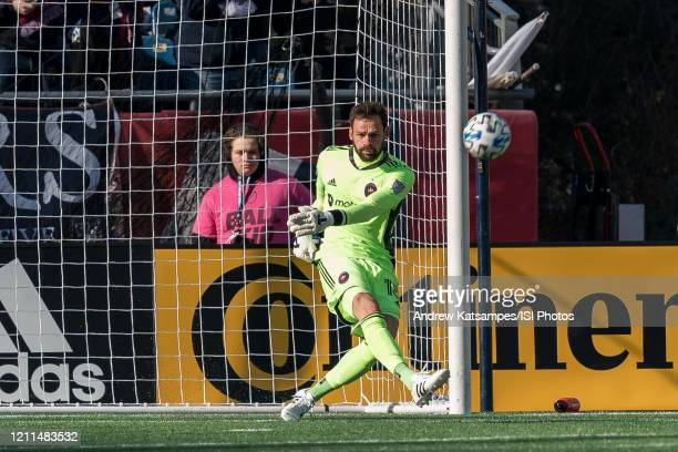 Kecceth Kronholm of Chicago Fire in action during a game between Chicago Fire and New England Revolution at Gillette Stadium on March 7 2020 in...