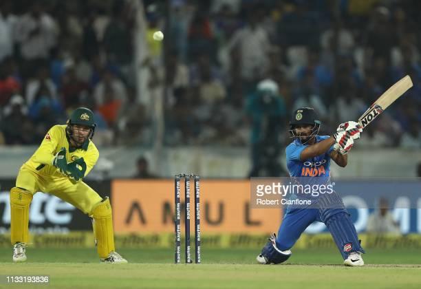 Kedar Jadhav of India bats during game one of the One Day International series between India and Australia at Rajiv Gandhi International Cricket...