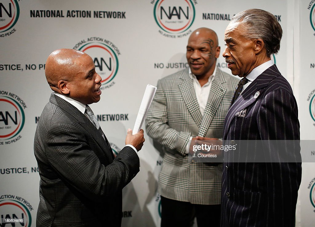 Kedar Massenburg, Former Boxing champion Mike Tyson and President and founder of the National Action Network Reverend Al Sharpton backstage at The 4th Annual Triumph Awards at Rose Theater, Jazz at Lincoln Center on October 7, 2013 in New York City.