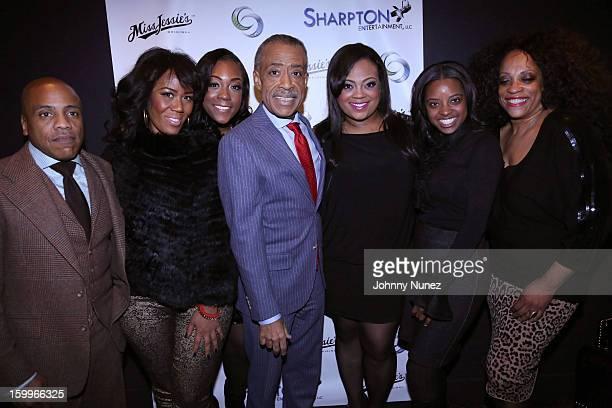 Kedar Massenburg, Miko Branch, Dominique Sharpton, Reverend Al Sharpton, Ashley Sharpton, Tamika Mallory and Kathy Jordan attend the Sharpton...