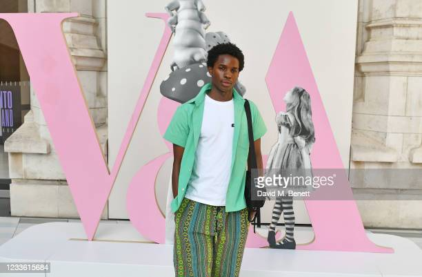 """Kedar Williams-Stirling attends a private view of """"Alice: Curiouser and Curiouser"""" at The V&A on June 23, 2021 in London, England."""