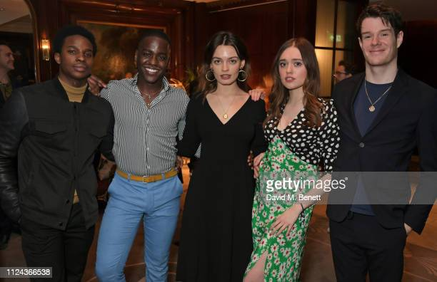 Kedar WilliamsStirling Ncuti Gatwa Emma Mackey Aimee Lou Wood and Connor Swindells attend the press night after party for All About Eve at The...