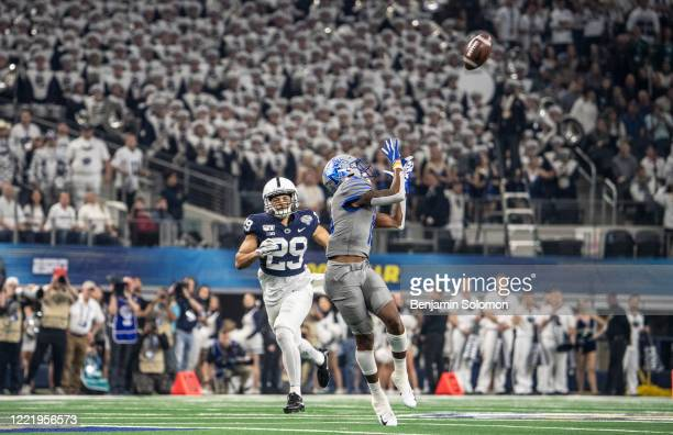 Kedarian Jones of the Memphis Tigers makes a catch during the Goodyear Cotton Bowl Classic at ATT Stadium on December 28 2019 in Arlington Texas