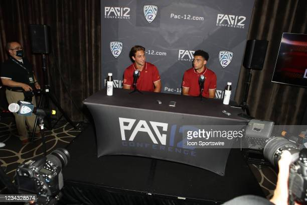 Kedon Slovis and Drake London during the Pac-12 Football Media Day on July 27 at the W Hotel in Hollywood, CA.