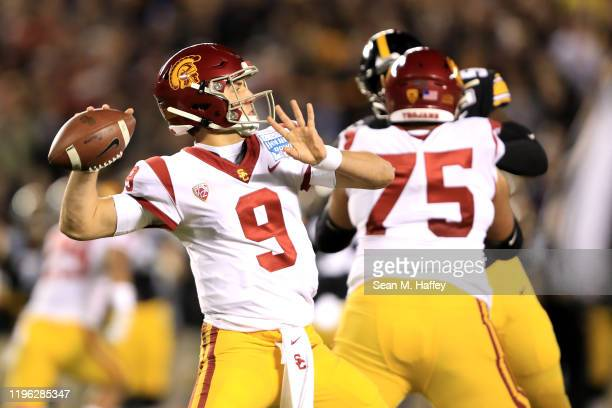 Kedon Slovis of the USC Trojans passes the ball against the Iowa Hawkeyes during the first half of the San Diego County Credit Union Holiday Bowl at...
